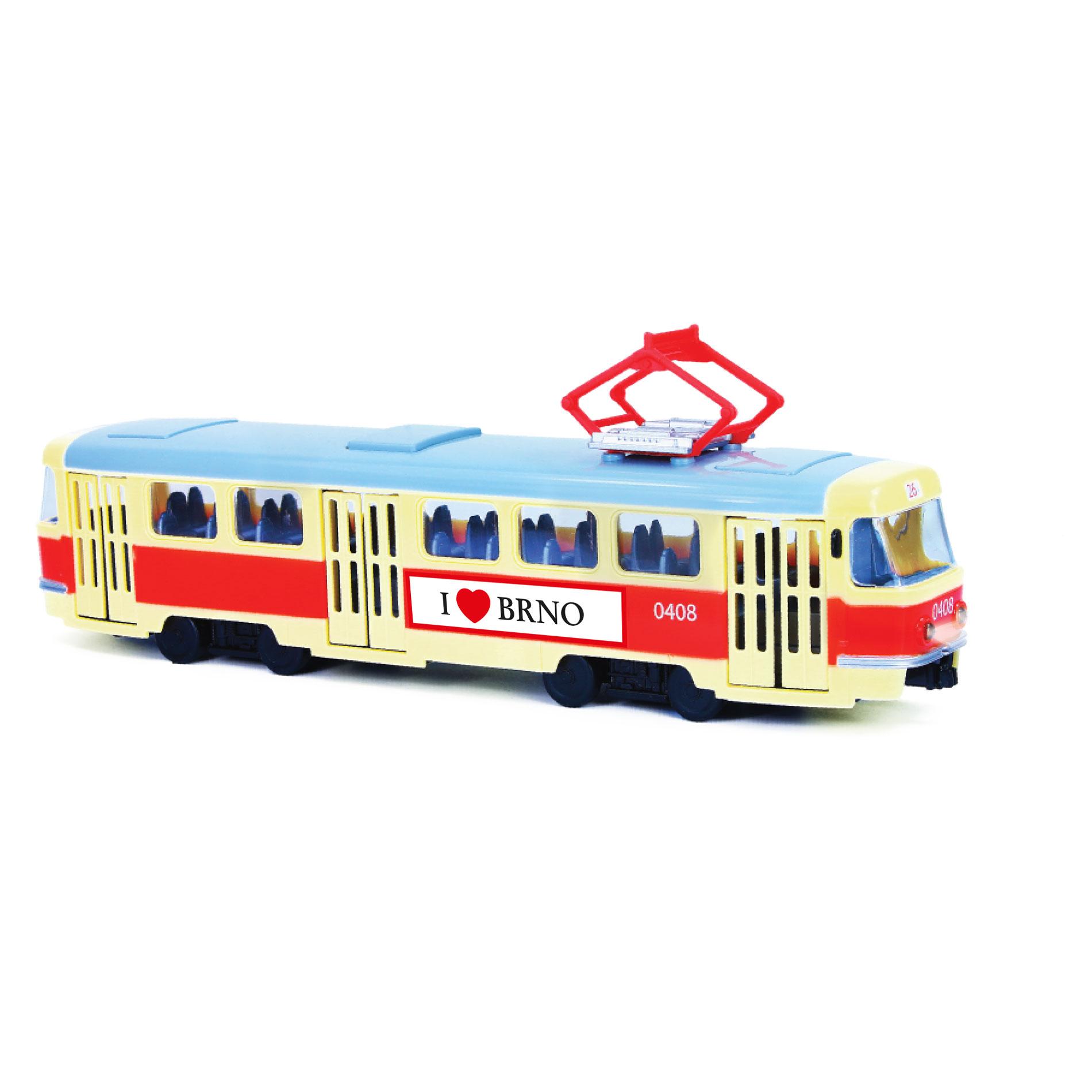 Tramvaj která hlásí zastávky česky 28 cm BRNO