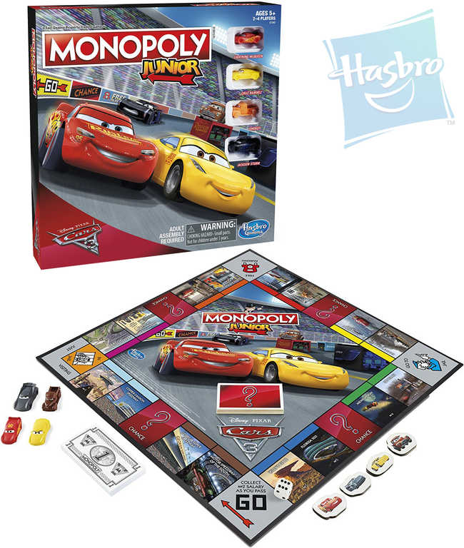HASBRO Hra MONOPOLY Junior Auta 3 (Cars) *SPOLEČENSKÉ HRY*
