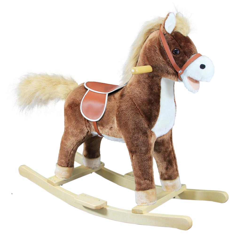 Houpací kůň plyš, střední, hnědý