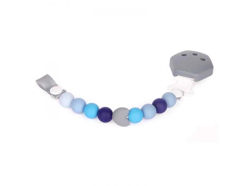 Silikonový klip na dudlík modro-šedý