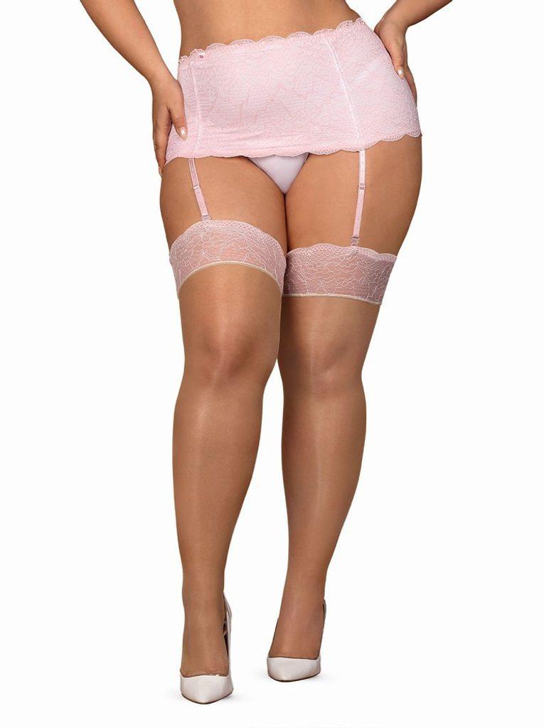 Sexy punčochy Obsessive Girlly stockings XXL - Nude - XXL