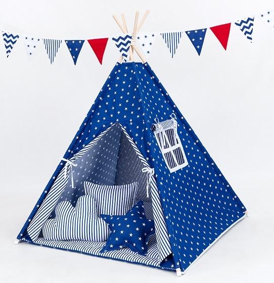 Stan pro děti teepee, týpí bez výbavy - hvězdičky bílé na modrém / modré proužky