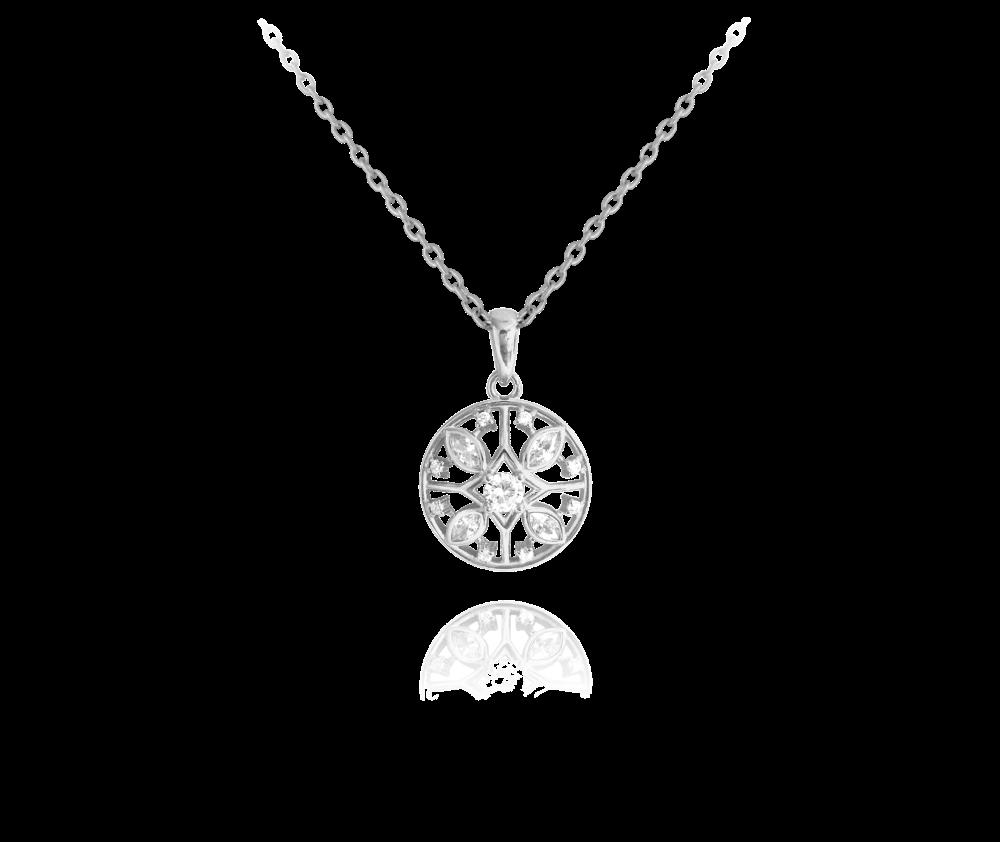Stříbrný náhrdelník MINET MANDALA s bílými zirkony