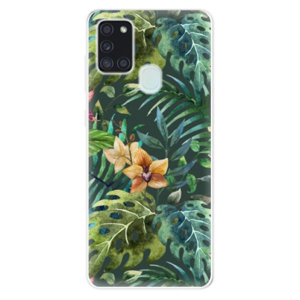 Odolné silikonové pouzdro iSaprio - Tropical Green 02 - Samsung Galaxy A21s