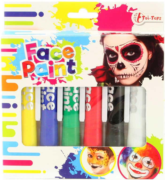 Barvy dětské obličejové na karneval set 6ks v krabičce