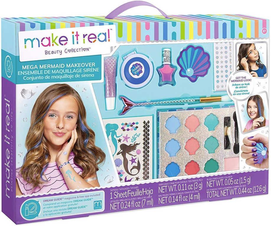 MAKE IT REAL Dětský kosmetický set mořská panna šminky s tetováním v kufříku