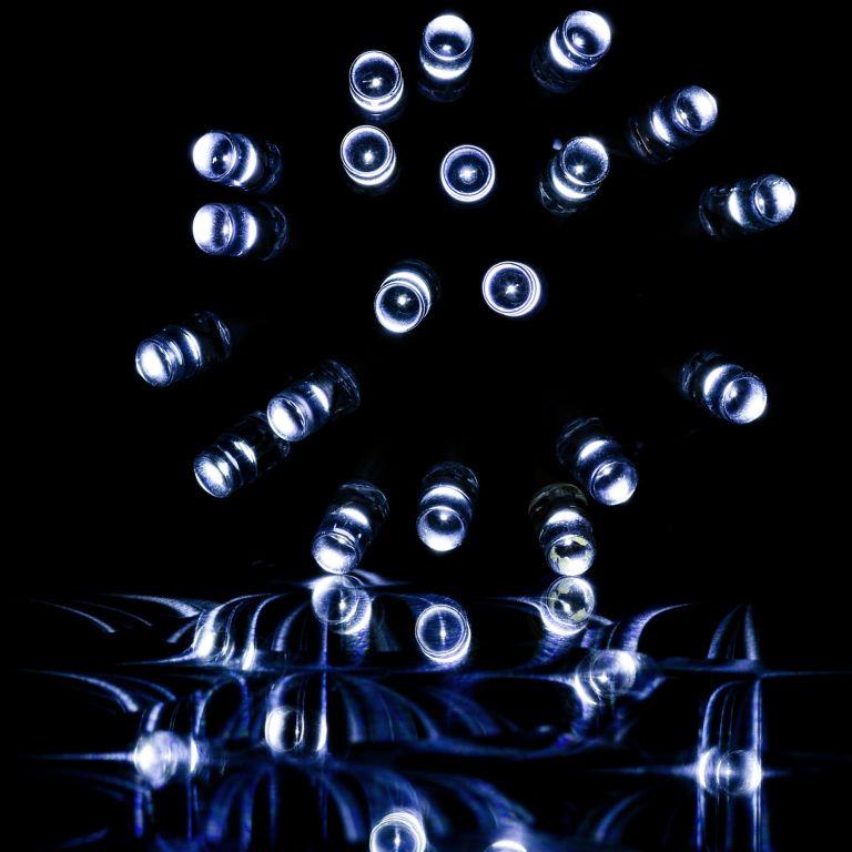 Vánoční LED osvětlení - 10 m, 100 LED, studeně bílé+ ovladač