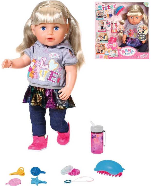ZAPF BABY BORN Starší sestřička Soft Touch panenka pláče set s doplňky