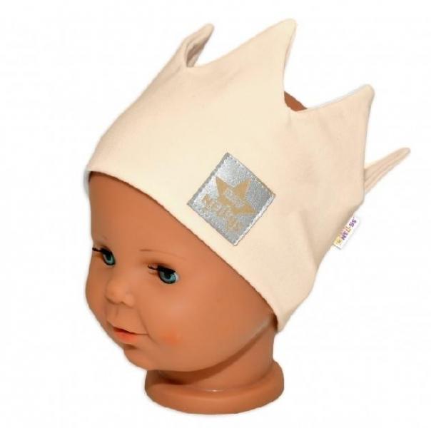 baby-nellys-hand-made-bavlnena-celenka-dvouvrstva-korunka-smetanova-1-3roky-3-7-let