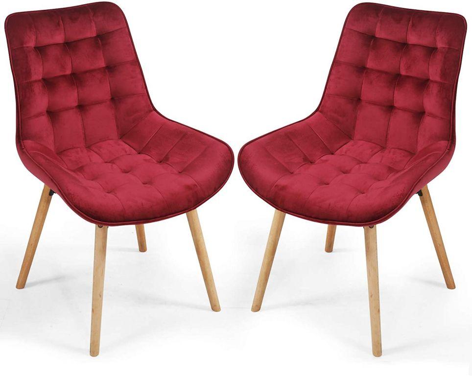 Sada prošívaných jídelních židlí, tmavě červené, 2 ks