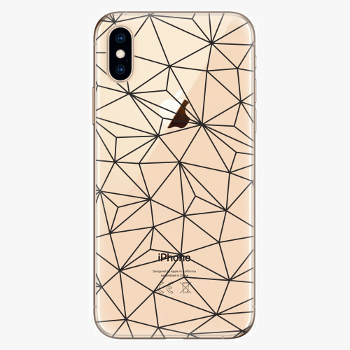 Silikonové pouzdro iSaprio - Abstract Triangles 03 - black - iPhone XS