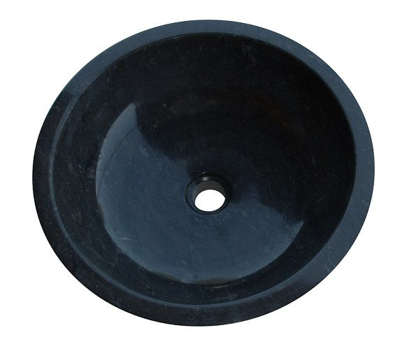 Kamenné umyvadlo Gemma 501 leštěný mramor Ø40 cm Black