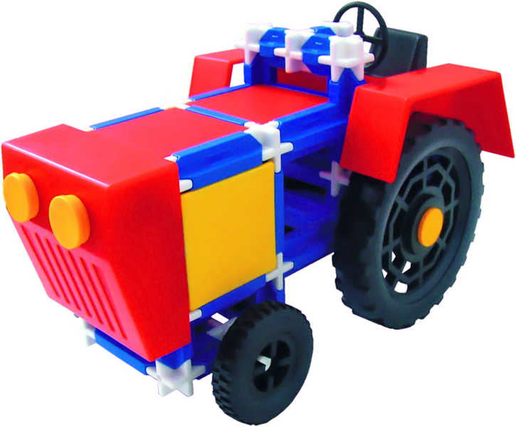 SEVA Traktor plastová STAVEBNICE 115 dílků v krabici