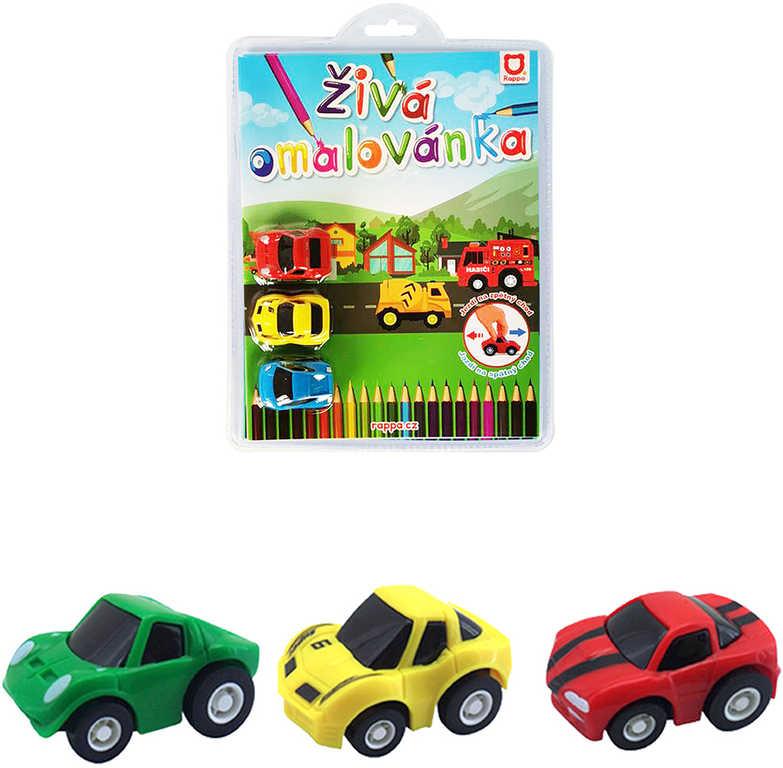 Rapíková omalovánka živá Závodní auta set s autíčky 3ks 2 druhy 2 barvy