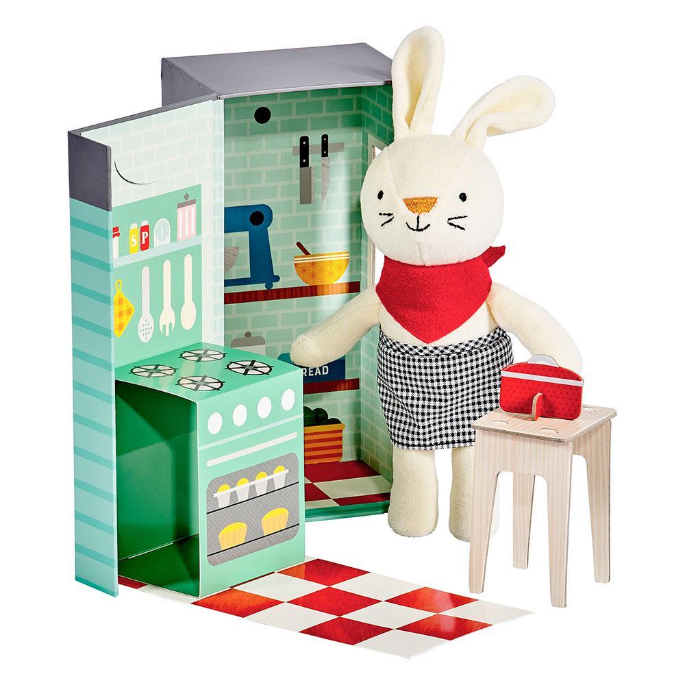 Petitcollage Plyšový králíček v kuchyni