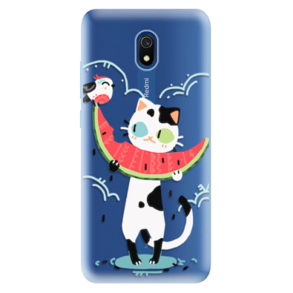 Odolné silikonové pouzdro iSaprio - Cat with melon - Xiaomi Redmi 8A