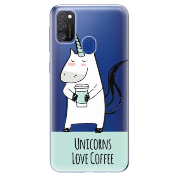 Odolné silikonové pouzdro iSaprio - Unicorns Love Coffee - Samsung Galaxy M21