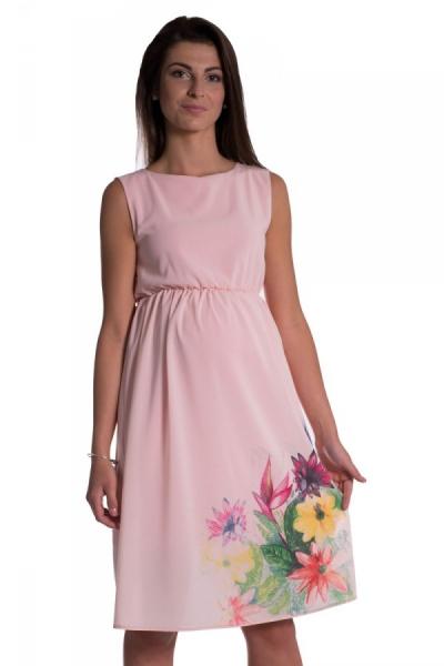 Těhotenské šaty bez rukávů s potiskem květin