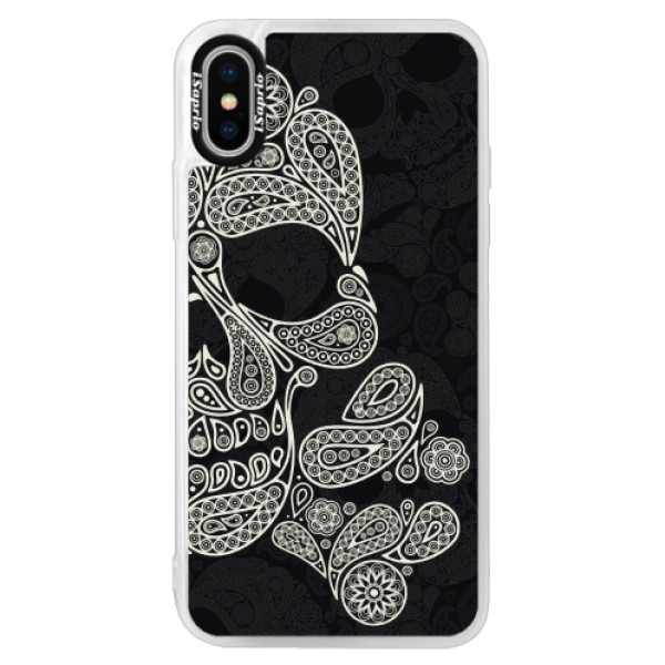 Neonové pouzdro Pink iSaprio - Mayan Skull - iPhone XS
