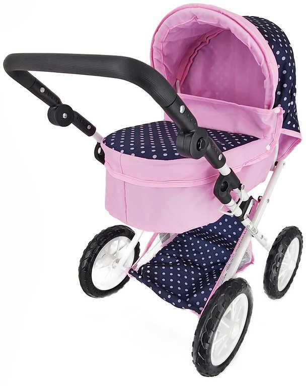 Kočárek modro/růžový puntíkovaný hluboký pro panenku miminko