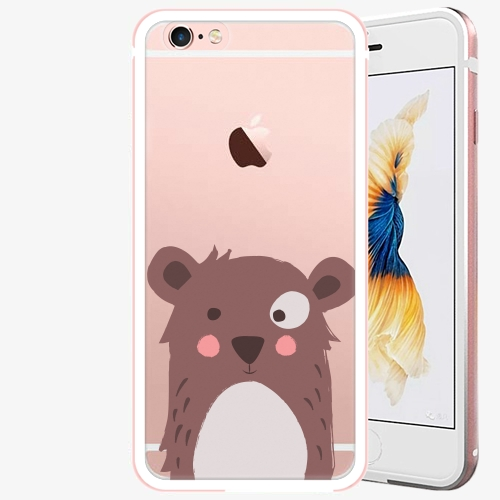 Plastový kryt iSaprio - Brown Bear - iPhone 6/6S - Rose Gold