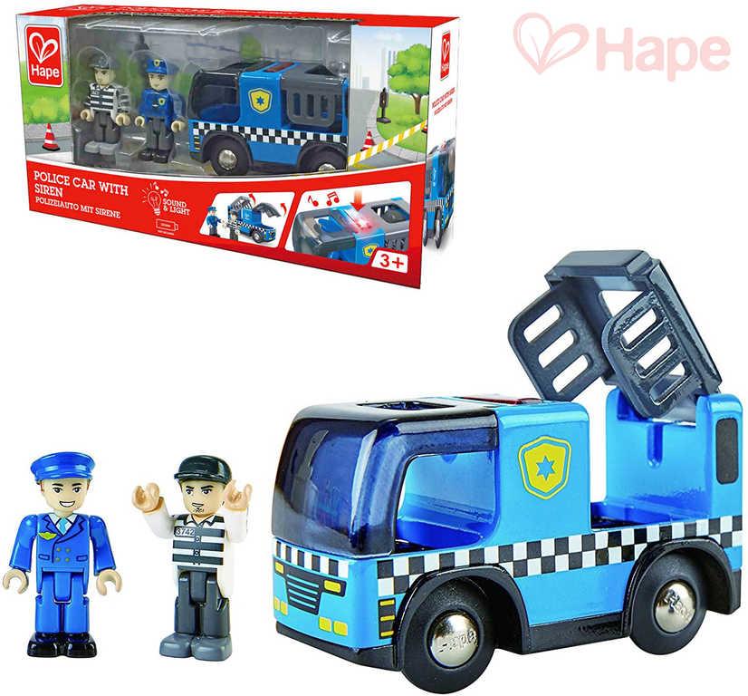 HAPE DŘEVO Auto policie herní set se 2 figurkami na baterie Světlo Zvuk
