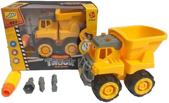 Auto žluté nákladní sklápěčka 16cm šroubovací set s nástrojem a 3 nástavci