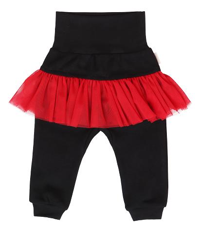 Mamatti Dětské tepláčky s červeným volánkem - černé, vel. 92 - 92 (18-24m)