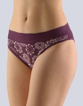 GINA dámské kalhotky bokové se širokým bokem, šité, s potiskem Disco XII 16109P - hypermangan oregáno