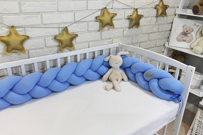 Mantinel Baby Nellys pletený cop - světle modrý - 200x16