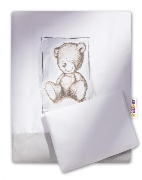 Baby Nellys Sada do kočárku komplet Sweet Dreams by Teddy - šedý