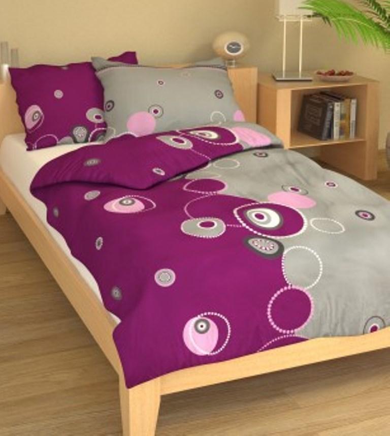 Povlečení bavlna 140x200, 70x90cm Retro fialové, Výběr zapínání: - zipový uzávěr