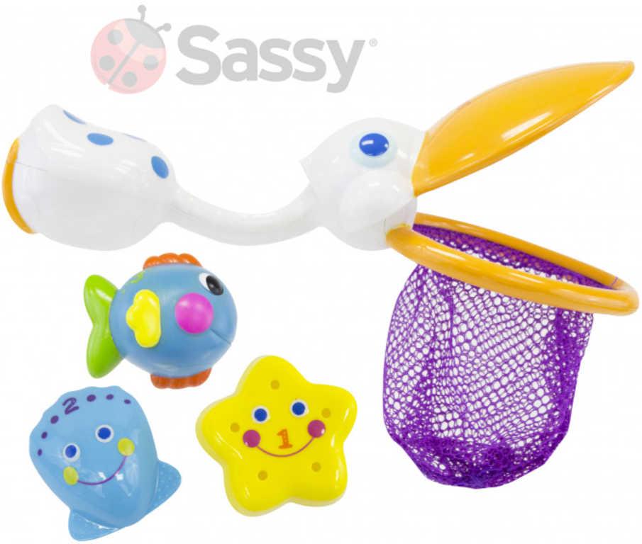 SASSY Baby koupací set síťka Pelikán + 3 zvířátka do vany plast pro miminko