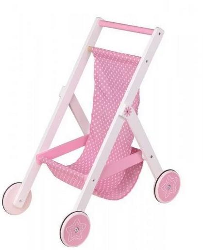 Lenin Dřevěný sportovní kočárek pro panenky - růžový