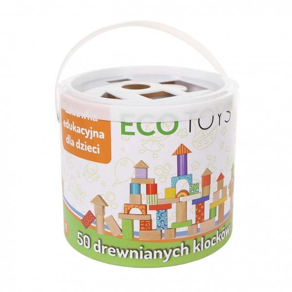 Dřevěné kostky v kyblíku ECO TOYS - 50 kusů