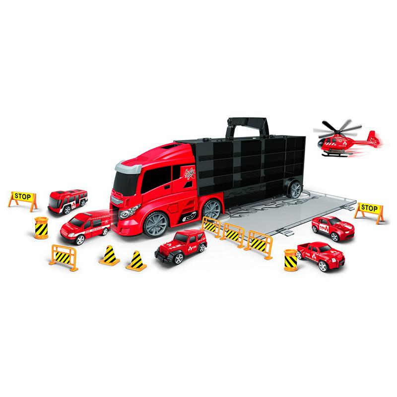 Kamion hasiči přenosný s auty a vymršťovací dráhou