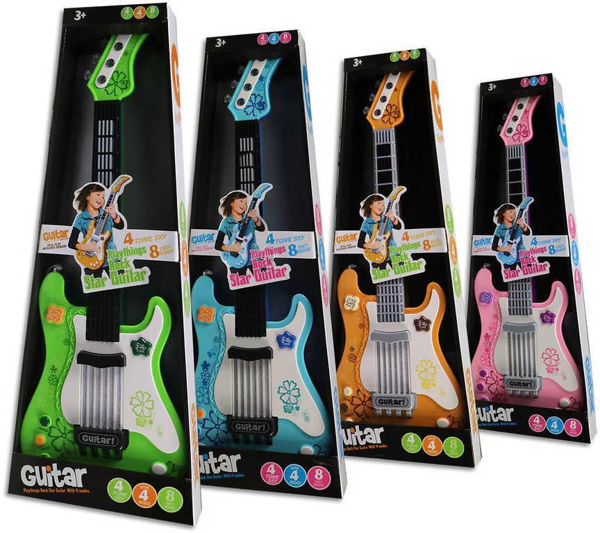 Kytara dětská rocková na baterie 56cm Světlo Zvuk plast HUDEBNÍ NÁSTROJE