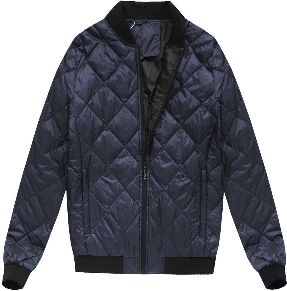 Tmavě modrá pánská bunda s přírodní vycpávkou (5022)