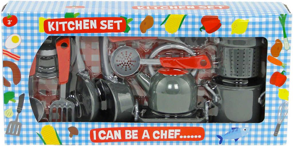 Nádobí dětské plastový herní set s hrnci a nástroji do kuchyňky
