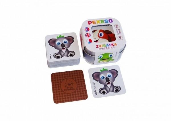 Pexeso Zvířátka 64 karet v plechové krabičce 6x6x4cm Hmaťák