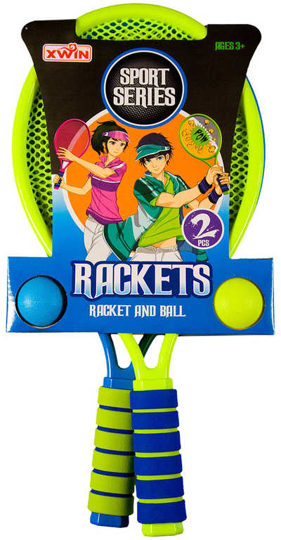 Set 2 rakety barevné 43cm s míčky na soft líný tenis 2 barvy plast