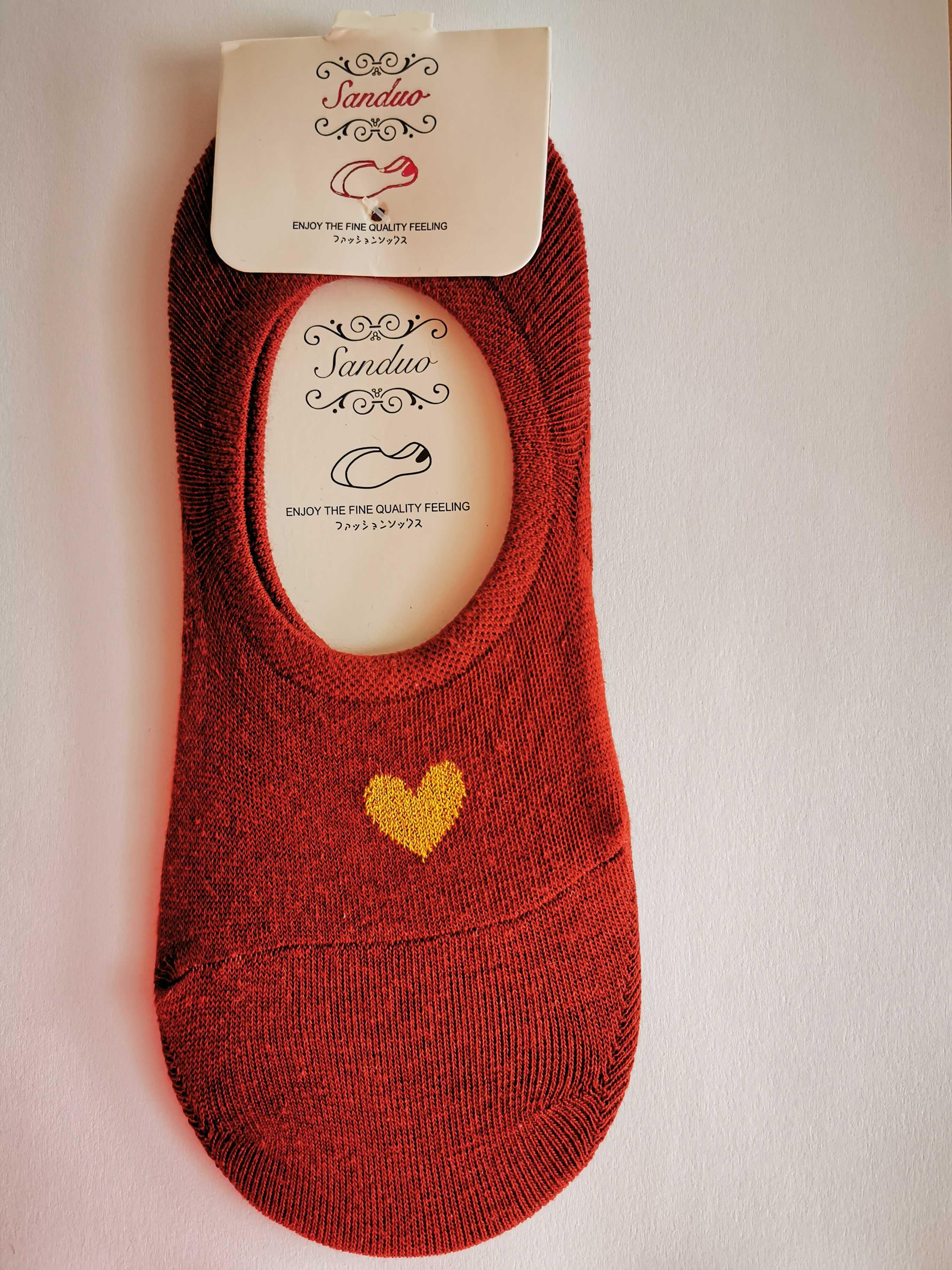 Ne-kotníkové ponožky se srdíčkem - Červená