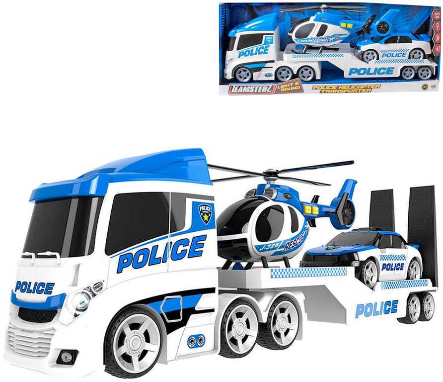 Teamsterz herní set tahač s policejním autem a vrtulníkem na baterie Světlo Zvuk