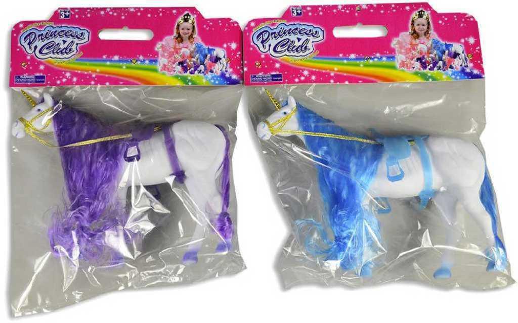 Koník jednorožec bílý 39cm pro princeznu dlouhá hříva 2 barvy flíska v sáčku