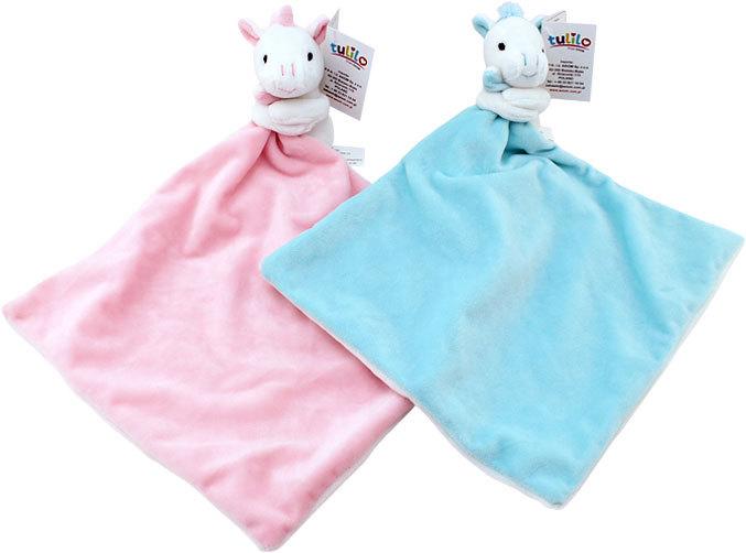 PLYŠ Baby dečka jednorožec 25x25cm muchláček kapesníček pro miminko 2 barvy