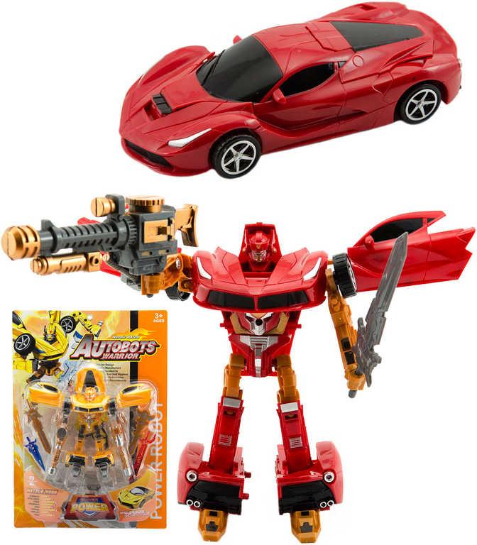 Transformer auto sportovní robot 24 cm s transformací - 2 barvy