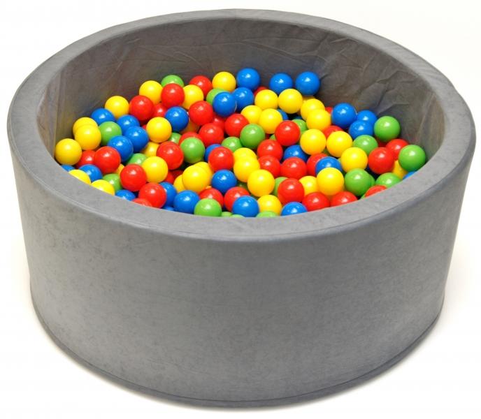 Bazén pro děti 90x40cm kruhový tvar + 200 balónků. - šedý