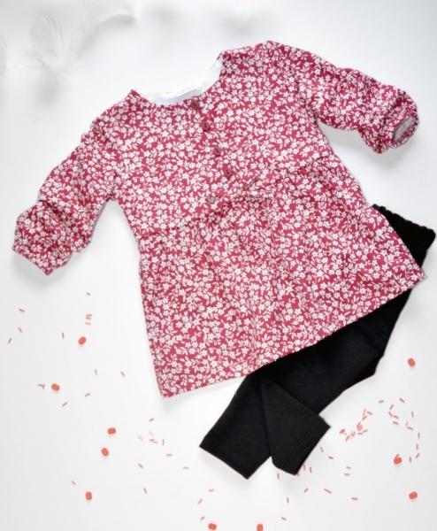 K-Baby 2 dílná sada - šaty + legíny, vínovo/černá, vel.