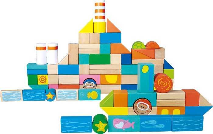 Small Foot Dřevěné stavební kostky podmořský svět
