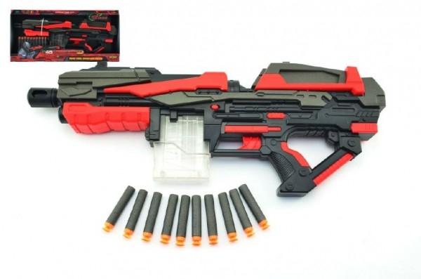 Pistole puška na pěnové náboje 10ks plast 54cm na baterie v krabici
